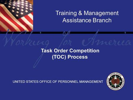 1 Report Tile Training & Management Assistance Branch UNITED STATES OFFICE OF PERSONNEL MANAGEMENT Task Order Competition (TOC) Process.