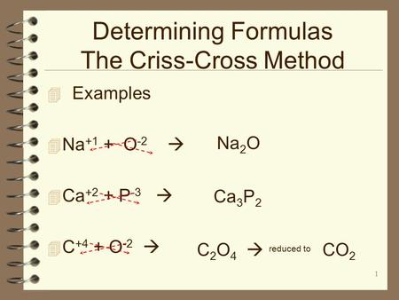 Determining Formulas The Criss-Cross Method  Examples  Na +1 + O -2   Ca +2 + P -3   C +4 + O -2  1 Na 2 O Ca 3 P 2 C 2 O 4  reduced to CO 2.