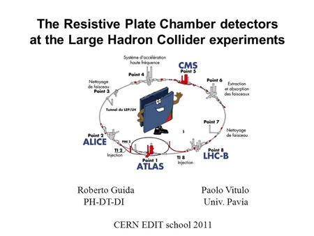 The <strong>Resistive</strong> Plate Chamber <strong>detectors</strong> at the Large Hadron Collider experiments Roberto Guida Paolo Vitulo PH-DT-DI Univ. Pavia CERN EDIT school 2011.