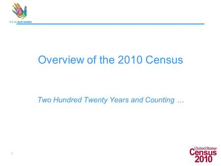 1 Overview of the 2010 Census Two Hundred Twenty Years and Counting …