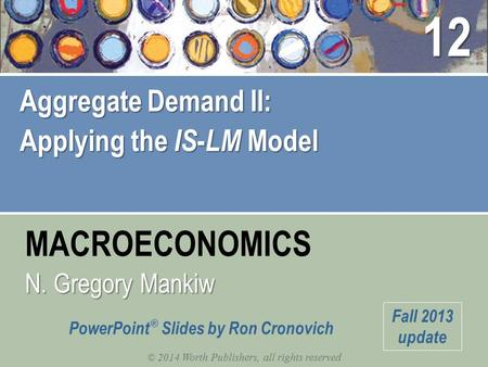 MACROECONOMICS © 2014 Worth Publishers, all rights reserved N. Gregory Mankiw PowerPoint ® Slides by Ron Cronovich Fall 2013 update Aggregate Demand II: