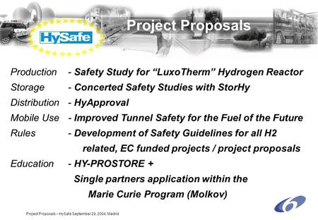"Project Proposals – HySafe September 29, 2004, Madrid Project Proposals Production - Safety Study for ""LuxoTherm"" Hydrogen Reactor Storage- Concerted Safety."