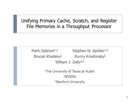 Unifying Primary Cache, Scratch, and Register File Memories in a Throughput Processor Mark Gebhart 1,2 Stephen W. Keckler 1,2 Brucek Khailany 2 Ronny Krashinsky.