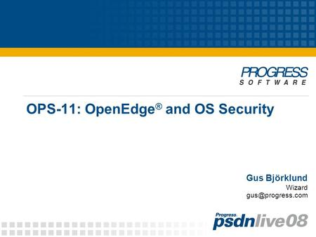 OPS-11: OpenEdge ® and OS Security Gus Björklund Wizard