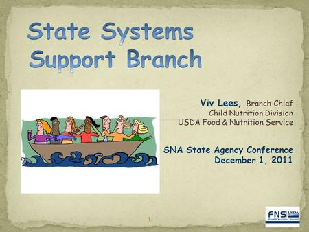 11 Viv Lees, Branch Chief Child Nutrition Division USDA Food & Nutrition Service SNA State Agency Conference December 1, 2011.