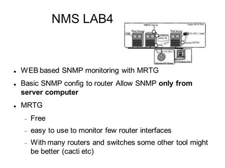 NMS LAB4 WEB based SNMP monitoring with MRTG Basic SNMP config to router Allow SNMP only from server computer MRTG  Free  easy to use to monitor few.