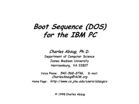 Boot Sequence (DOS) for the IBM PC