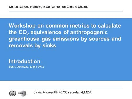 Workshop on common metrics to calculate the CO 2 equivalence of anthropogenic greenhouse gas emissions by sources and removals by sinks Javier Hanna, UNFCCC.