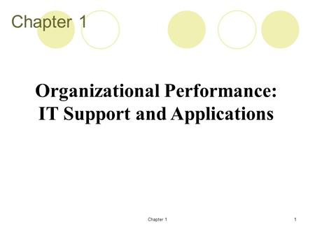 Chapter 11 Organizational Performance: IT Support and Applications.