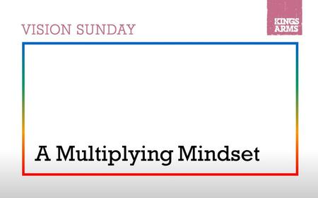 "A Multiplying Mindset. 1.God has a vision for multiplication Genesis 1:28 (NRSV): ""God blessed them, and God said to them, 'Be fruitful and multiply,"