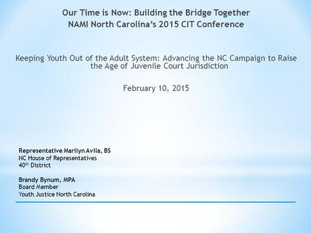 Our Time is Now: Building the Bridge Together NAMI North Carolina's 2015 CIT Conference Keeping Youth Out of the Adult System: Advancing the NC Campaign.