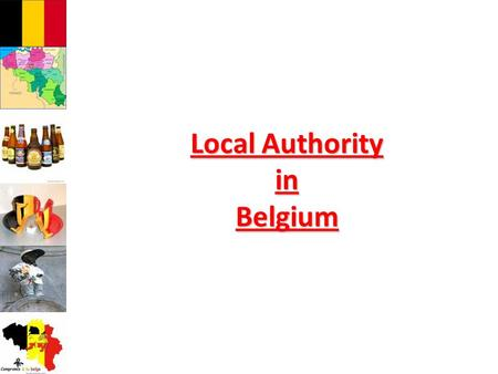 Local Authority in Belgium. Identity card of Belgium  Surface : 30.528 km2  Population : 10,7 Million inhabitants  F ederal Capital : Brussels  National.