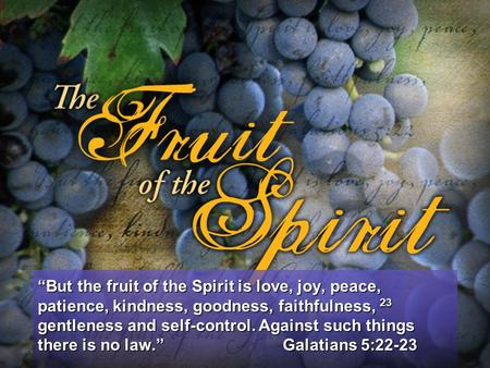 """But the fruit of the Spirit is love, joy, peace, patience, kindness, goodness, faithfulness, 23 gentleness and self-control. Against such things there."