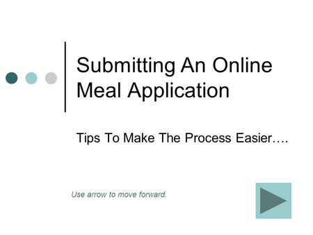 Submitting An Online Meal Application Tips To Make The Process Easier…. Use arrow to move forward.
