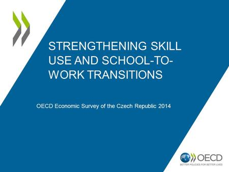 STRENGTHENING SKILL USE AND SCHOOL-TO- WORK TRANSITIONS OECD Economic Survey of the Czech Republic 2014.