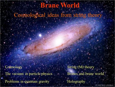Cosmological ideas from string theory