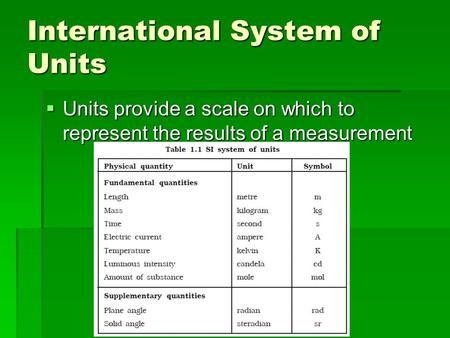 International System of Units  Units provide a scale on which to represent the results of a measurement.
