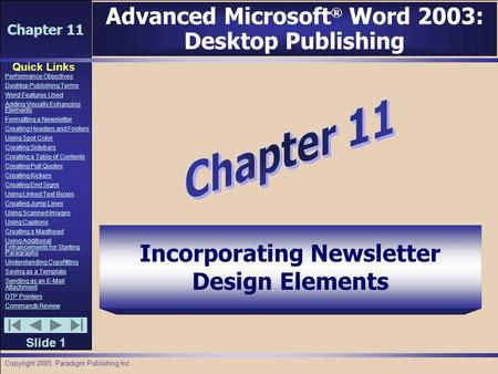Chapter 11 Quick Links Slide 1 Performance Objectives Desktop Publishing Terms Word Features Used Adding Visually Enhancing Elements Formatting a Newsletter.