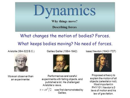 Dynamics What changes the motion of bodies? Forces.