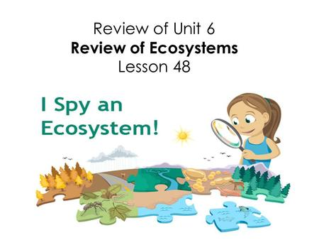 Review of Unit 6 Review of Ecosystems Lesson 48. Congratulations! We have finished Unit 6 Ecosystems. Now it is time to review what we learned.