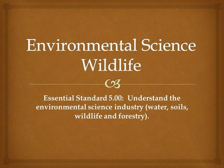 Essential Standard 5.00: Understand the environmental science industry (water, soils, wildlife and forestry).