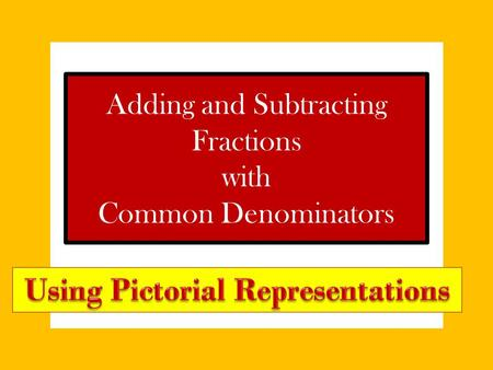 Adding and Subtracting Fractions with Common Denominators.