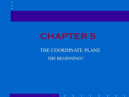 CHAPTER 5 THE COORDINATE PLANE THE BEGINNING!!. 5.1THE COORDINATE PLANE Points are located in reference to two perpendicular number lines called axes.