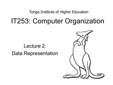 IT253: Computer Organization Lecture 2: Data Representation Tonga Institute of Higher Education.