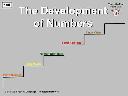 The Development of Numbers The Development of Numbers next Taking the Fear out of Math © Math As A Second Language All Rights Reserved Hieroglyphics Tally.