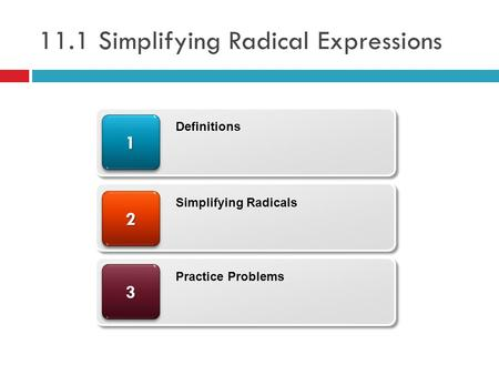 11.1 Simplifying Radical Expressions