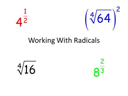 Working With Radicals. Do Now Simplify each of the exponential expressions.