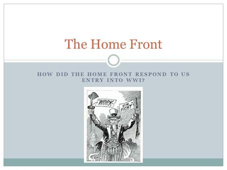 How did the home front respond to US entry into WWI?