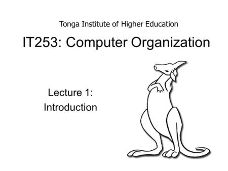 IT253: Computer Organization Lecture 1: Introduction Tonga Institute of Higher Education.