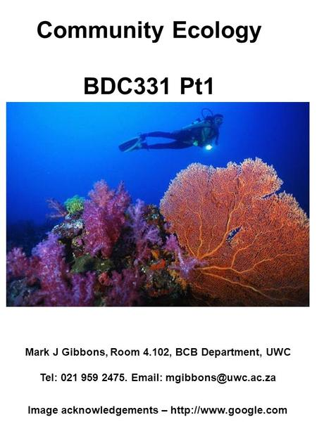 Community Ecology BDC331 Pt1 Mark J Gibbons, Room 4.102, BCB Department, UWC Tel: 021 959 2475.   Image acknowledgements –