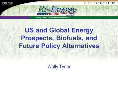 US and Global Energy Prospects, Biofuels, and Future Policy Alternatives Wally Tyner.