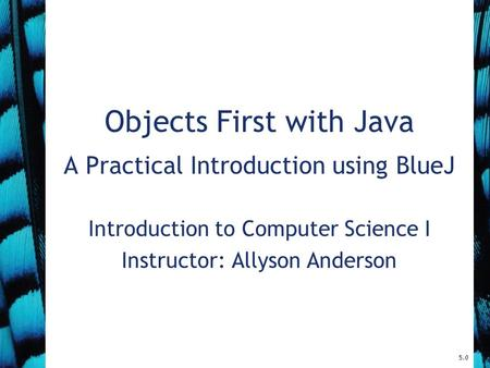 5.0 Objects First with Java A Practical Introduction using BlueJ Introduction to Computer Science I Instructor: Allyson Anderson.