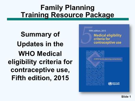 Family Planning Training Resource Package