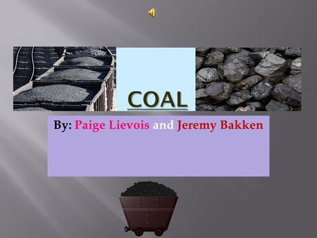 By: Paige Lievois and Jeremy Bakken  Coal is a noun. It is a black or dark brown flammable mineral substance consisting of carbonized vegetable matter,