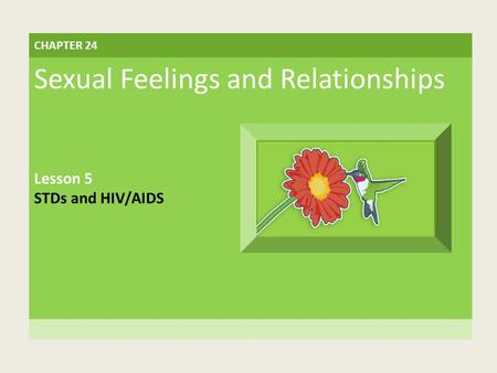 CHAPTER 24 Sexual Feelings and Relationships Lesson 5 STDs and HIV/AIDS.