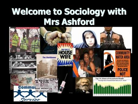 Welcome to Sociology with Mrs Ashford. Objectives: Introductions Introductions Handbooks/assessment schedule/ reading Handbooks/assessment schedule/ reading.