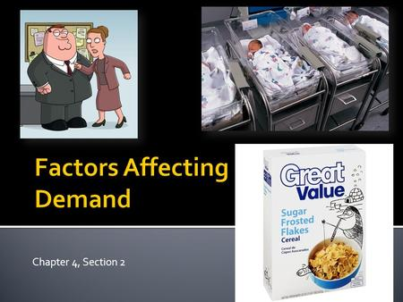Chapter 4, Section 2.  There are a lot of reasons why demand for an item increases or decreases…  Price is one easy way to affect demand, but there.