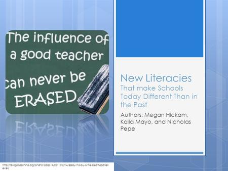 New Literacies That make Schools Today Different Than in the Past Authors: Megan Hickam, Kaila Mayo, and Nicholas Pepe