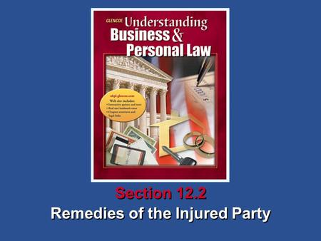 Remedies of the Injured Party Section 12.2. Understanding Business and Personal Law Remedies of the Injured Party Section 12.2 Transfer of Contracts and.