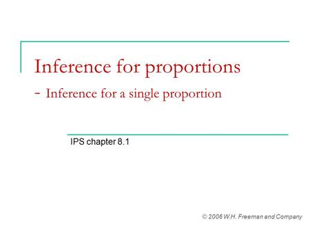 Inference for proportions - Inference for a single proportion IPS chapter 8.1 © 2006 W.H. Freeman and Company.