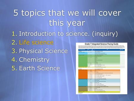 5 topics that we will cover this year 1.Introduction to science. (inquiry) 2.Life science 3.Physical Science 4.Chemistry 5.Earth Science 1.Introduction.