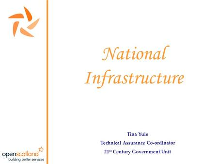 National Infrastructure Tina Yule Technical Assurance Co-ordinator 21 st Century Government Unit.