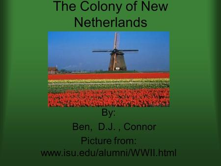 The Colony of New Netherlands By: Ben, D.J., Connor Picture from: www.isu.edu/alumni/WWII.html.