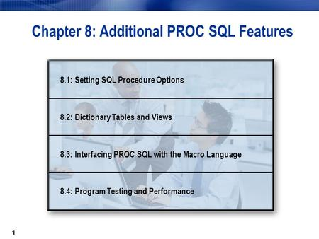 11 Chapter 8: Additional PROC SQL Features 8.1: Setting SQL <strong>Procedure</strong> Options 8.2: Dictionary Tables and Views 8.3: Interfacing PROC SQL with the Macro.