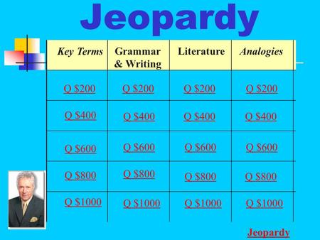 Jeopardy Key Terms Grammar & Writing LiteratureAnalogies Q $200 Q $400 Q $600 Q $800 Q $1000 Q $200 Q $400 Q $600 Q $800 Q $1000 Jeopardy.