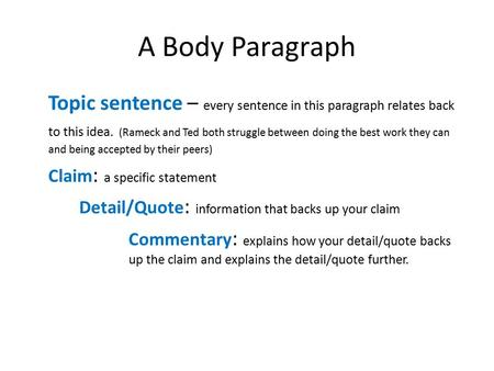 A Body Paragraph Topic sentence – every sentence in this paragraph relates back to this idea. (Rameck and Ted both struggle between doing the best work.